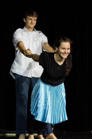 El Salvador: La Union, El Salvador :: Jaco Smit (South Africa) and Rut Spindler (Austria) perform swing dance in the onboard theatre. More Info