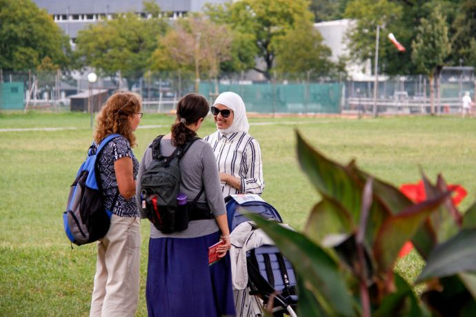 Switzerland: Participants are talking to an Arab women during an outreach in Interlaken. More Info