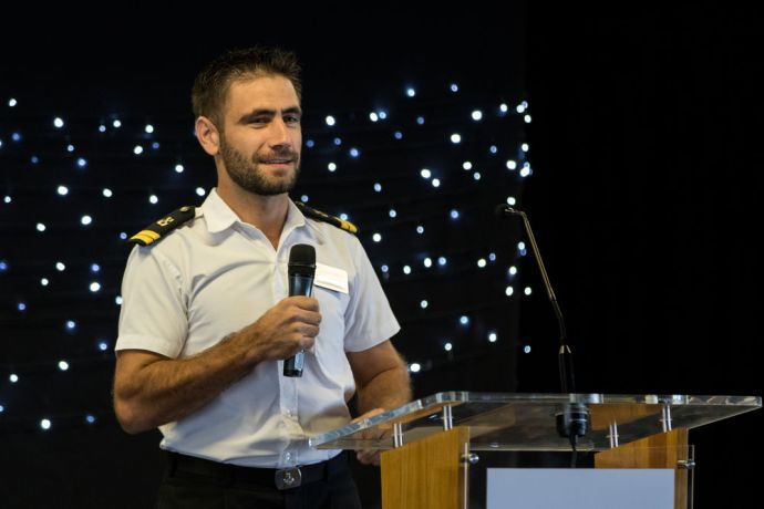 El Salvador: La Union, El Salvador :: Ionut Vlad (Romania) shares his personal story at an event for navy officers held on board Logos Hope. More Info