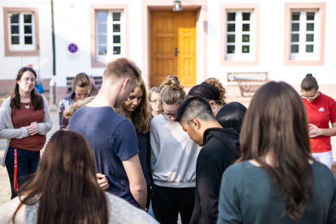 Germany: Before the MDT Love Europe teams went into their outreaches, the OM Germany team prayed for them More Info