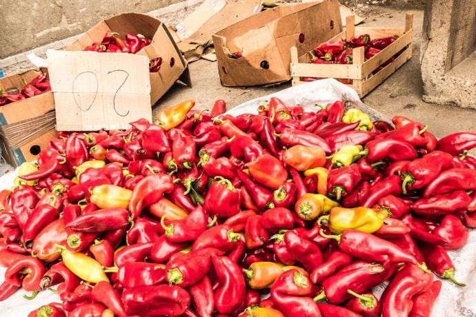 Serbia: Peppers for sale at a market in Eastern Serbia. More Info