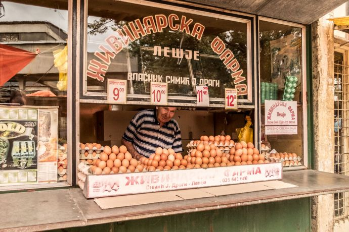 Serbia: Selling eggs at a market in Eastern Serbia. More Info