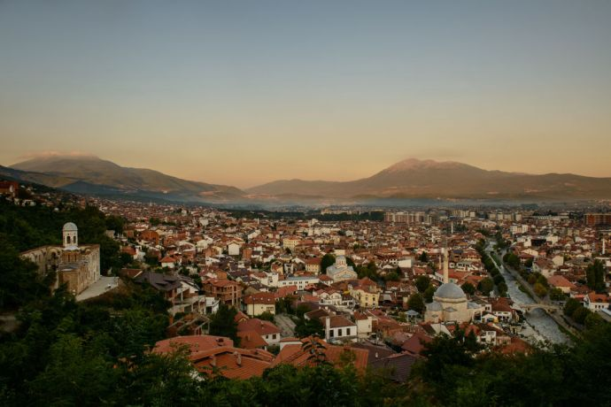 Kosovo: City scape of Prizren, Kosovo with a mosque in the foreground.  Photo by Garrett N More Info