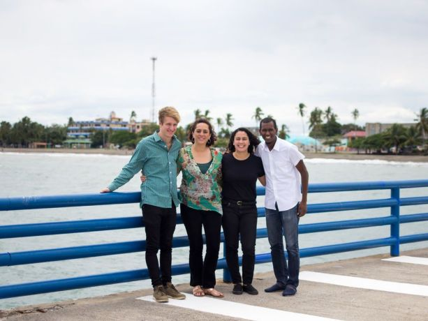 Costa Rica: Puntarenas, Costa Rica :: Advance preparation team Jonathan Hülbig (Germany), Claudia Rocha (Colombia), Lis Lopes (Brazil) and Lincoln Bacchus (Trinidad and Tobago) smile on the quayside of Logos Hope. More Info