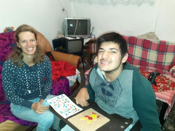 Albania: Anna uses her professional skills to work alongside an Albanian teenage boy with disabilities. More Info