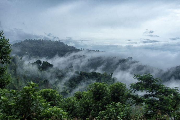 South Asia: Foggy, windswept mountains in South Asia. More Info