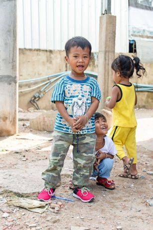 Cambodia: Children playing outside. More Info