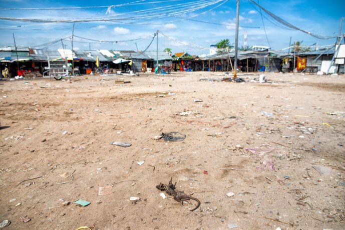 Cambodia: A mostly empty marketplace as the government continues to move the poor from place to place. Garbage and dead, decomposing animals are scattered across the ground where children often play. More Info
