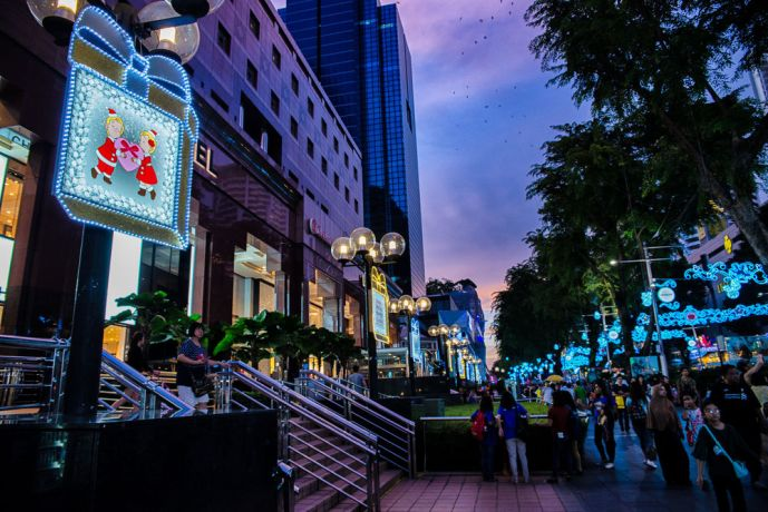 Singapore: Christmas Signs line the streets of Singapore. More Info
