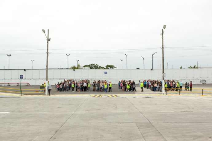 Ecuador: Guayaquil, Ecuador :: All crewmembers of Logos Hope muster on the quayside during a safety drill. More Info