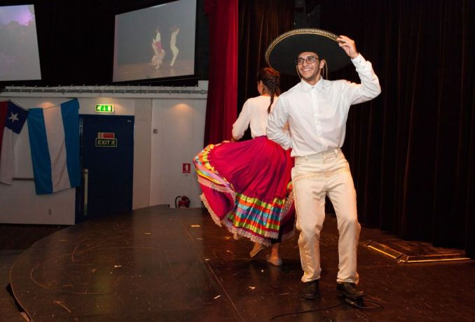 Ecuador: Guayaquil, Ecuador :: Fernando Rojas Vertiz (Mexico) and Noemi Solano (Mexico) perform the Mexican dance during an onboard event. More Info