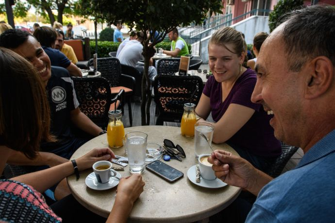 Montenegro: Latinos working in the 10/40 share many commonalities such as spending time socializing over a cup of coffee.  Photo by Garrett N More Info