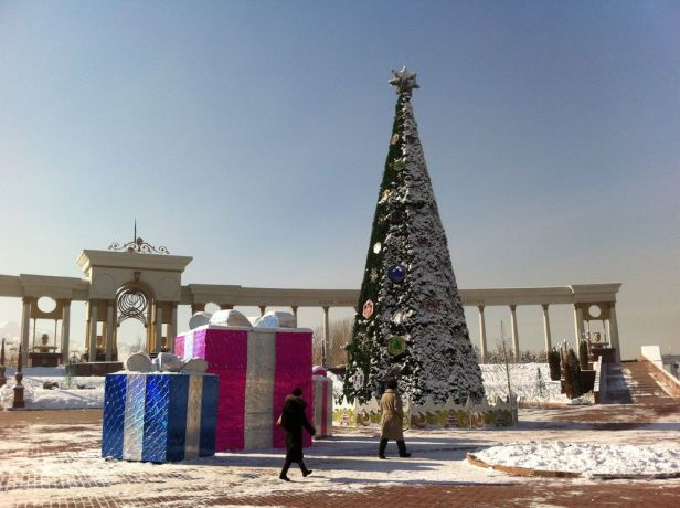 Central Asia: A New Years tree and other holiday decorations. More Info