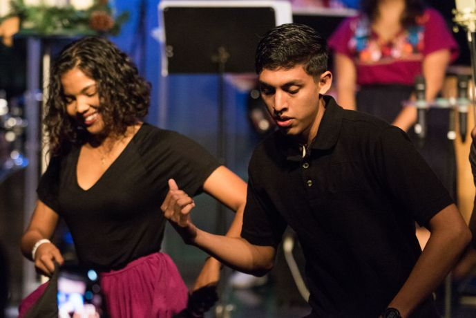 Ecuador: Guayaquil, Ecuador :: Erica Thakurdin (Barbados) and John Hernandez (Aruba) perform a Caribbean dance during an advent service on board Logos Hope. More Info