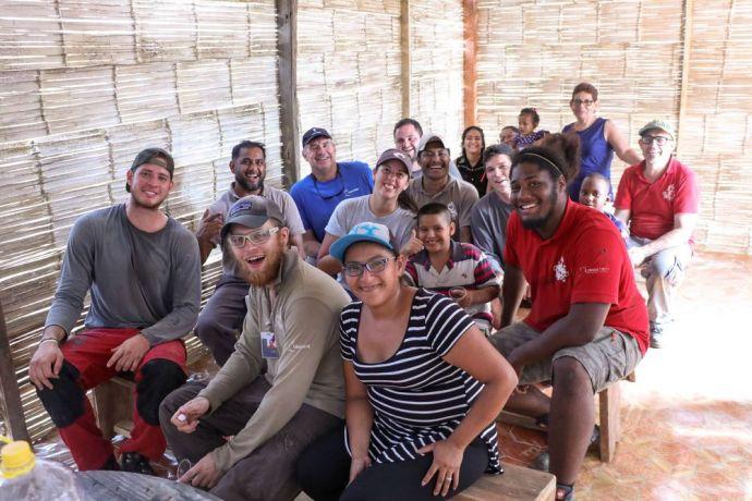 Ecuador: Guayaquil, Ecuador :: Crewmembers from Logos Hope construct a new multipurpose building for a community. More Info