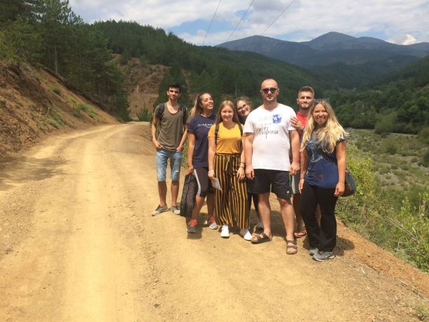 Albania: The first outreach team of Journey to the North (a travelling discipleship ministry) poses on a road in northern Albania, close to where they led a kids camp. More Info