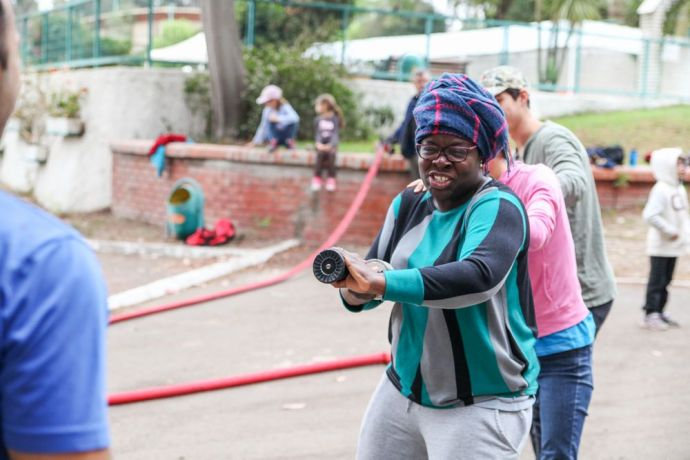 Chile: Valparaiso, Chile :: New crewmembers practice using fire hoses as part of their pre-ship safety training. More Info