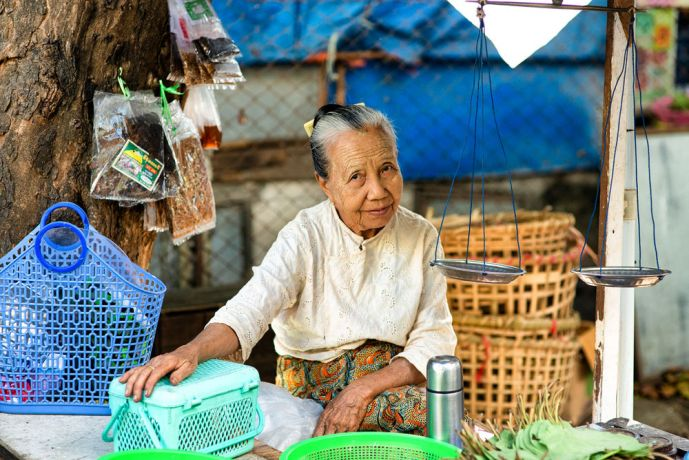 Myanmar: This older woman working at her shop had time to spare a beautiful smile for a stranger. More Info