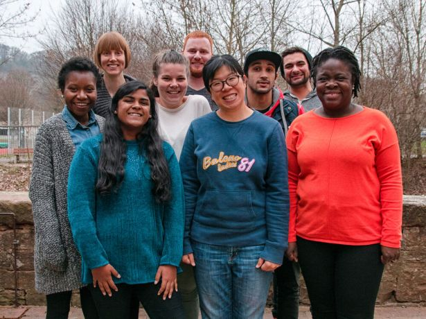 Germany: Group shot of people from difference countries and ethnic groups at GO. More Info