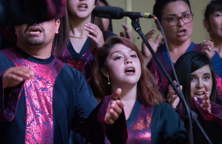 Chile: Lirquén, Chile :: The Chili Gospels choir sing christians songs during a concert onshore. More Info