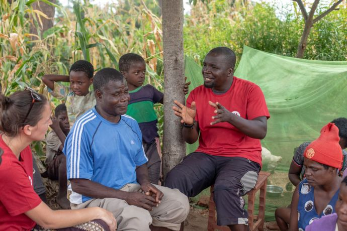 Malawi: OM worker talking with people in villages in Malawi that were impacted by Cyclone Idai. Photo by Rebecca Rempel More Info