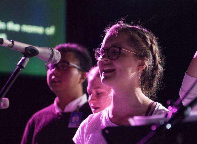 Uruguay: Montevideo, Uruguay :: Emili Tullila (Finland) sing during prayer night. More Info