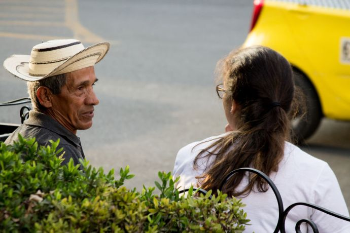 Panama: Talking and evangelizing with a gentleman on the streets of Herrera, Panama. More Info