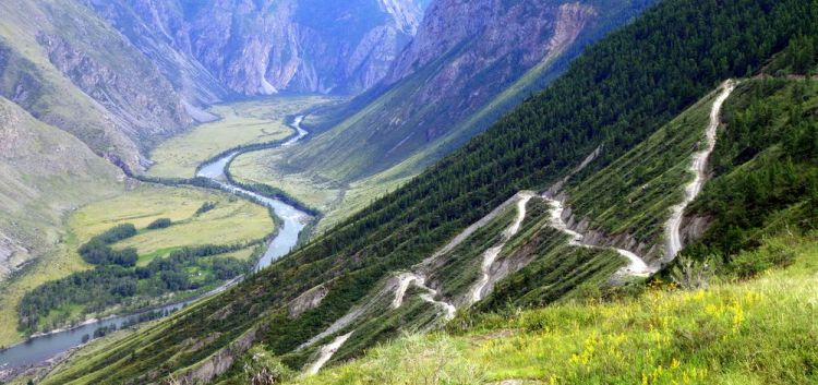 Russia: Mountain pass in the Republic of Altai, Siberia (Russia), home to the minority people group, the Altai. More Info