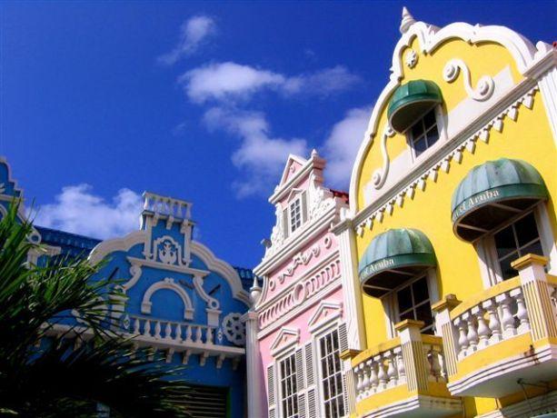 Aruba: Vibrantly coloured buildings in Aruba More Info