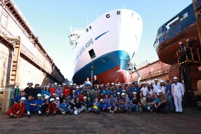 Uruguay: Montevideo, Uruguay :: This is a team photo of the Logos Hope crew while in dry dock. More Info