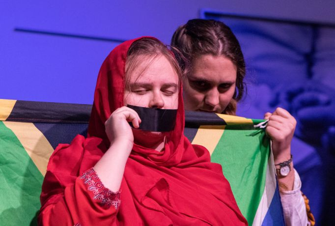 Argentina: Rosario, Argentina :: Bethan Cannell (Isle of Man) and Ly-Mari Marais (South Africa) perform on stage during a prayer event. More Info