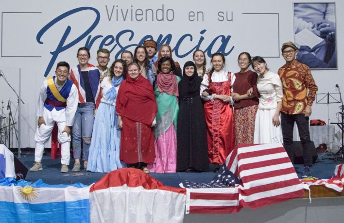 Argentina: Rosario, Argentina :: Crewmembers wear least reached national costumes for a prayer event. More Info