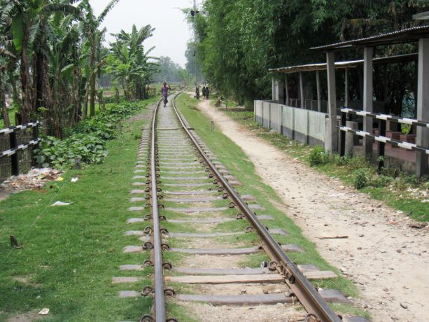 Bangladesh: Bangladesh :: A man walks on rails. More Info