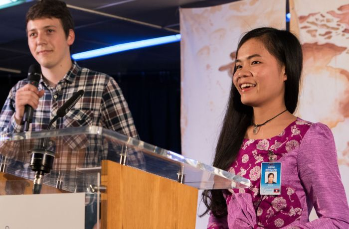Argentina: Bahia Blanca, Argentina :: Weow Inthilard (Laos) and Benaya Keppler (Germany) speak on the stage during an event on board. More Info