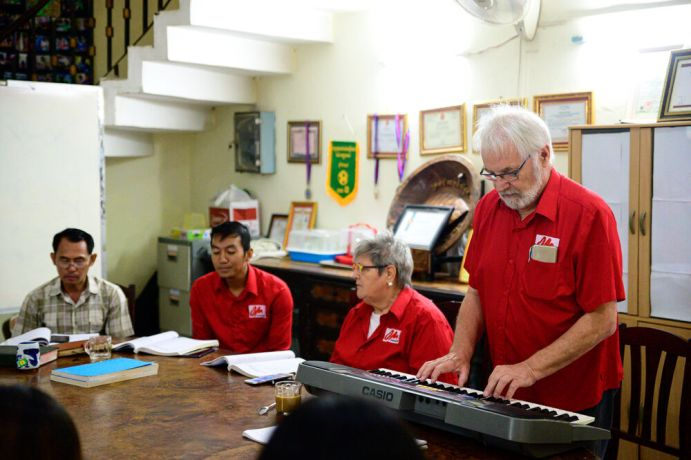 Cambodia: Johan leading Devotionals for the Cambodia team. More Info