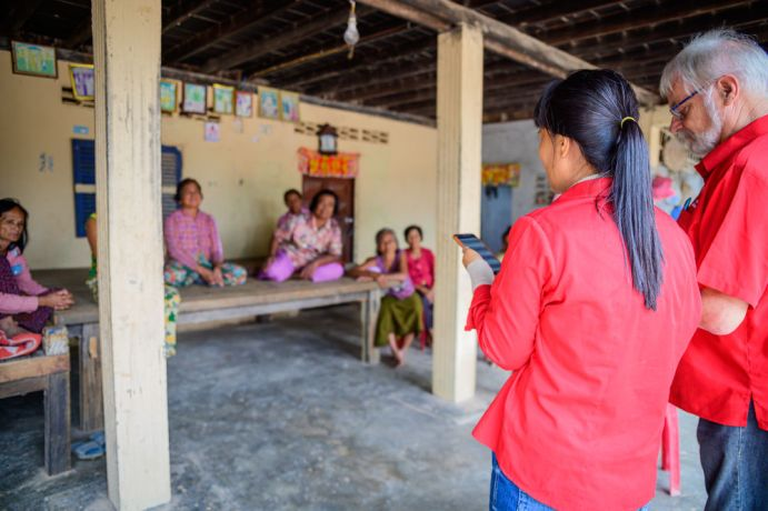 Cambodia: Johan and Mom from the Cambodia team lead a Bible study in a village. More Info