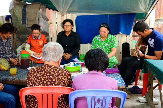 Cambodia: A Bible study in a poor part of Phnom Penh. More Info