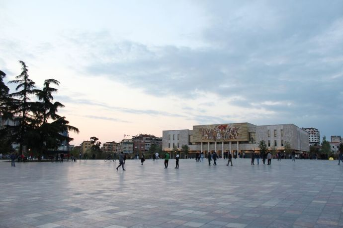 Albania: Skanderbeg Square, named after Albanias national hero, is located in the heart of Tirana, Albanias capital city. Featured here is a famous mural at the National Historical Museum. More Info