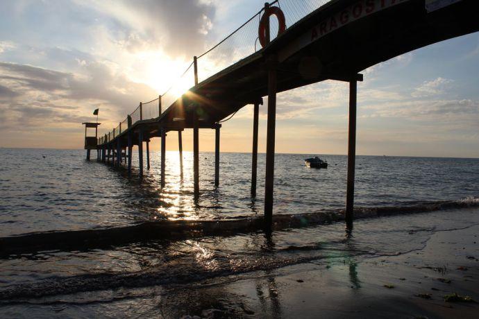 Albania: A small jetty into the Adriatic Sea in the port city of Durrës, Albania. More Info