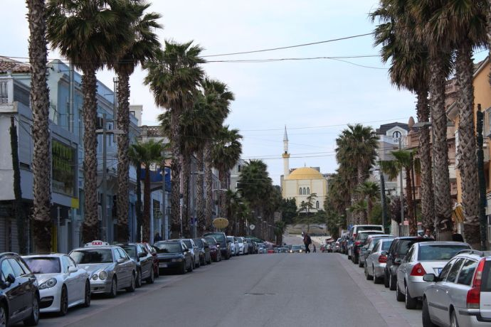 Albania: Palm trees line the Boulevard that leads to the Grand or Great Mosque of Durrës in the city centre of Durrës--Albanias largest port city and second largest city. More Info