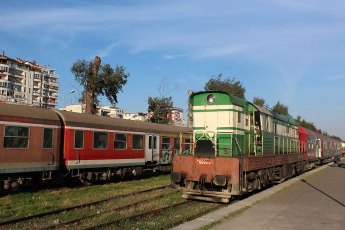 Albania: Trains in Durrës--Albanias largest port city and second largest city. More Info