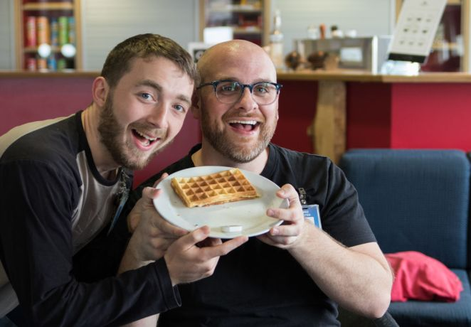 Argentina: Mar del Plata, Argentina :: Mike Roten (USA) and Matt Taylor (United Kingdom) cook waffles on board. More Info