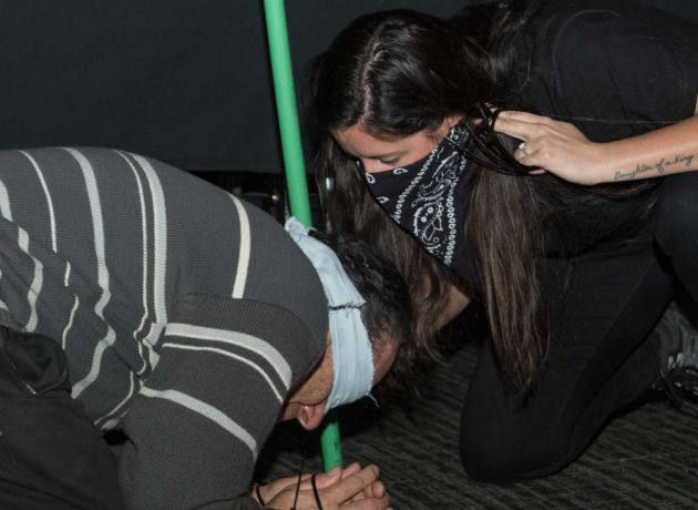 Argentina: Mar del Plata, Argentina :: Esther Coggin (USA) playes a persecutter during a persecutted church event on board. More Info