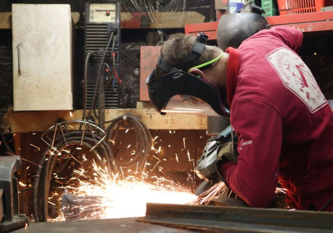 Argentina: Mar del Plata, Argentina :: David Demergian (USA) works in the welding workshop. More Info