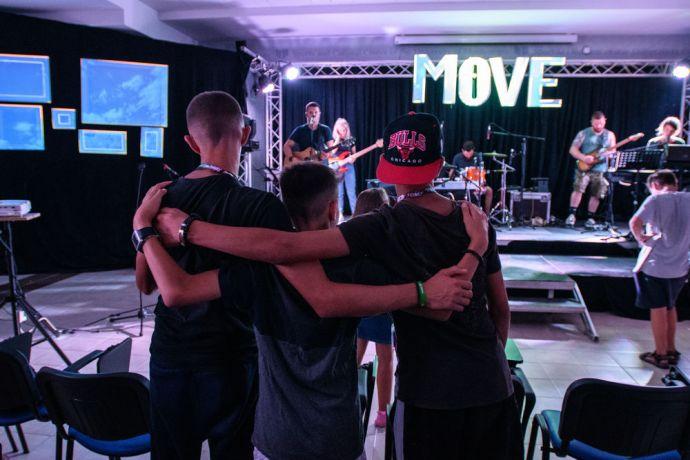 Montenegro: Teens worshiping and music at Teen Street Balkan.  Photo by Garrett N More Info