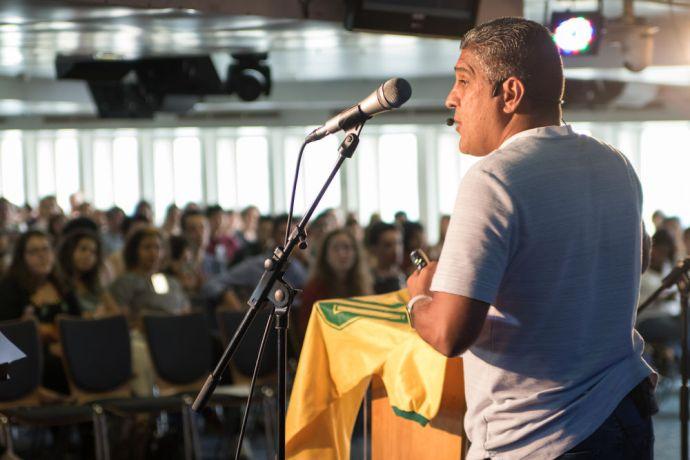 Brazil: Santos, Brazil :: Silas Pereira, a famous Brazilian football player, preaches during a Sunday service on board. More Info