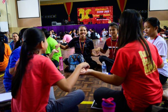 Malaysia: Small group of girls sharing and getting to know each other after shhh time. More Info