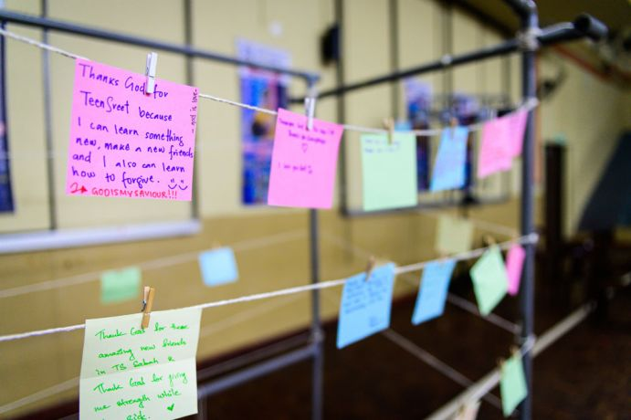 Malaysia: Post It Notes hung up for things participants are thankful for. More Info