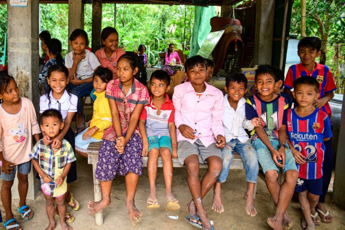 Cambodia: Group of kids in a village waiting for the kids program to begin. More Info