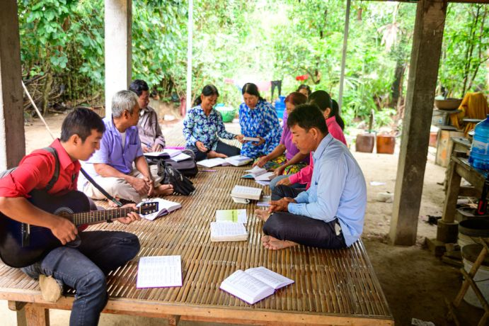 Cambodia: A Bible Study in a Cambodian village. More Info
